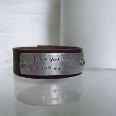 "Lovely Handmade Personalised ""I love you ..."" Leather Bracelet Unique Gift"